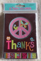 Hippie Chick Peace Sign Pink/Brown Birthday Party Thank You Cards W/Enve... - $7.41