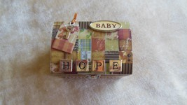 "Musical Jewelry Box ""At Home"" Baby Hope Chest  Key Wind Up Plays Small W... - $19.30"