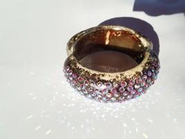 Vintage Bakelite Rhinestone Clamp Bracelet multi- colored aurora stones ... - $86.13