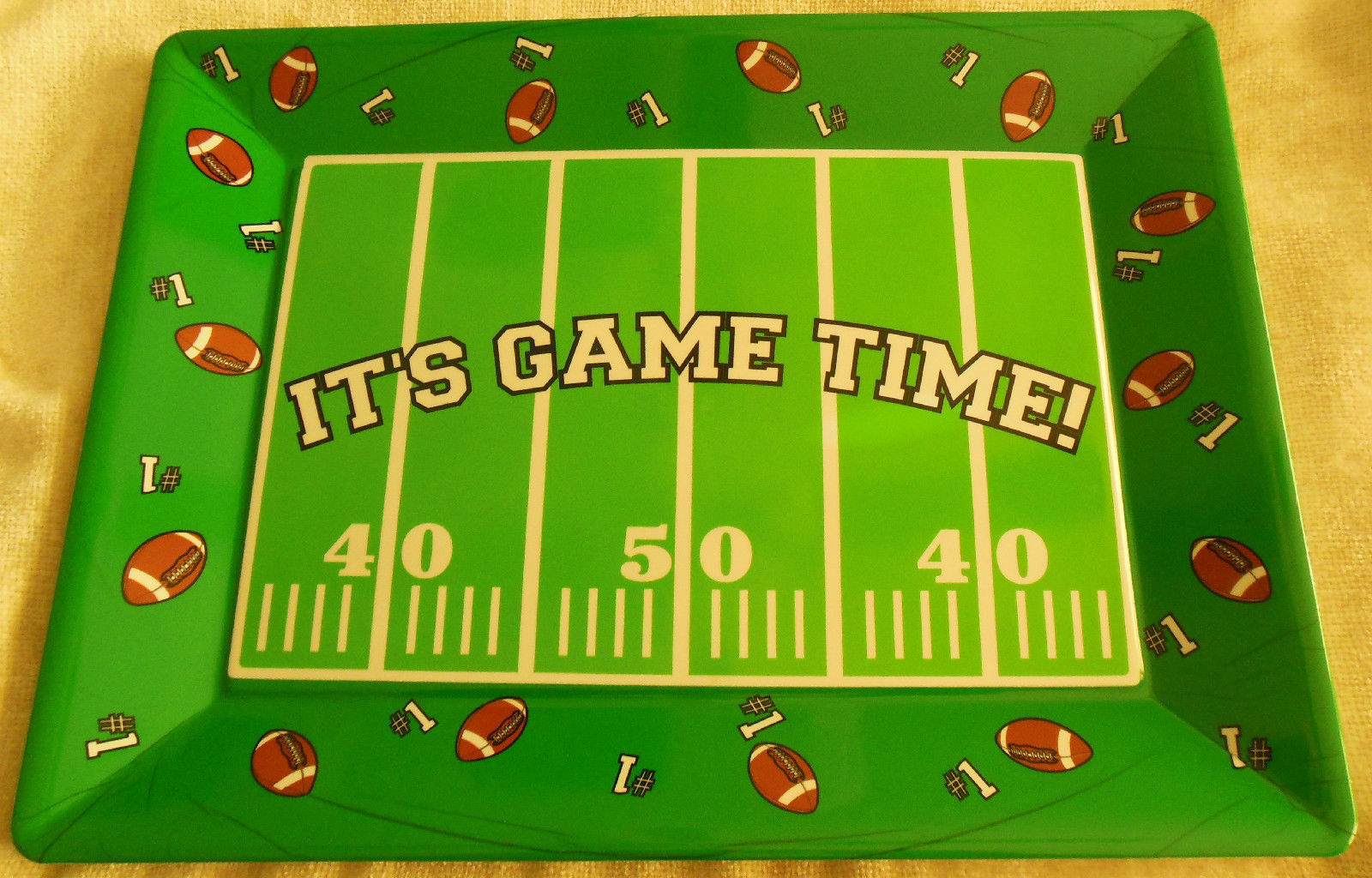 "Football Rectangular Food/Serving Tray -14"" x 10"" Medium"