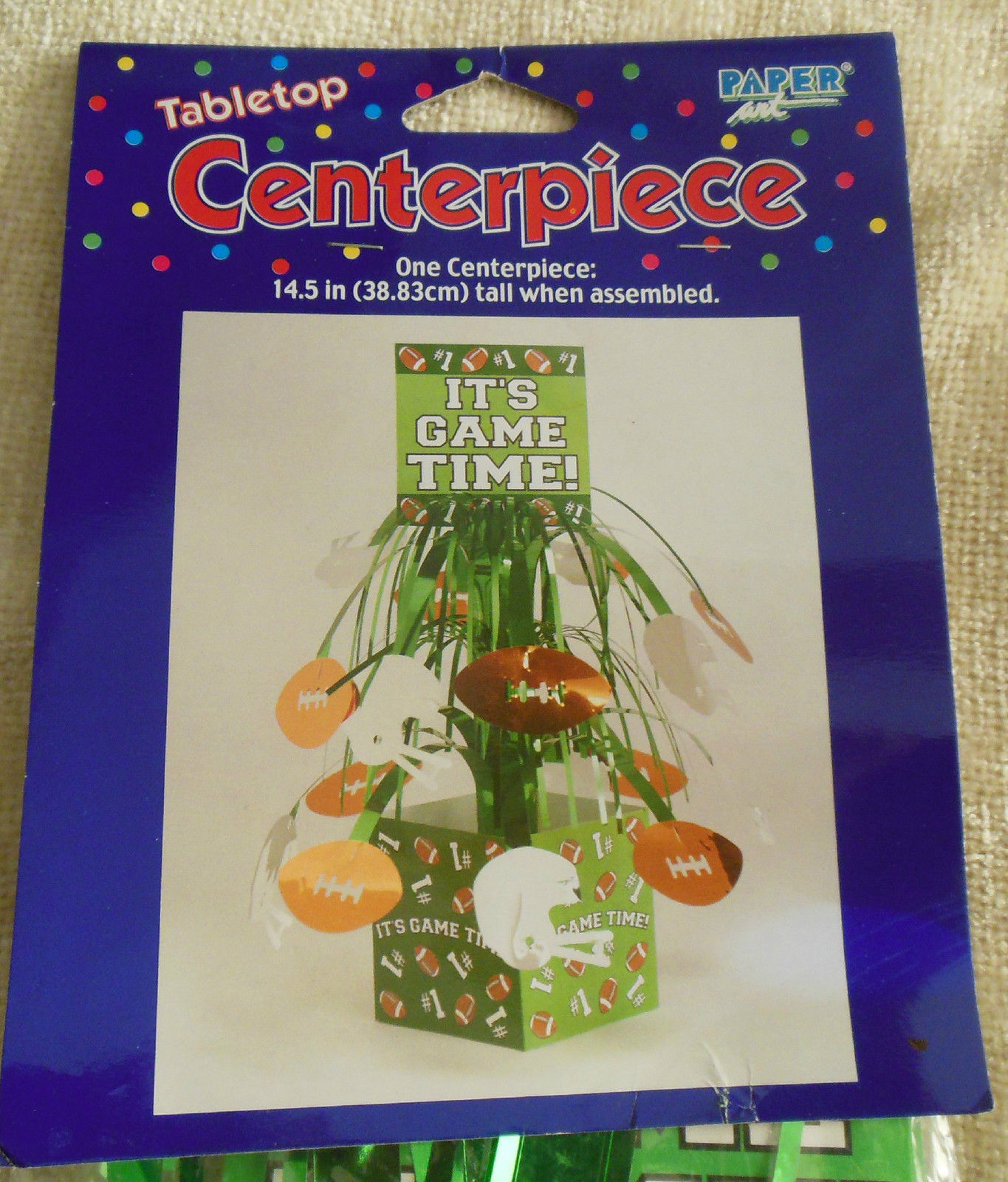 "Football Tabletop Centerpiece  It's Game Time 14.5"" Tall"