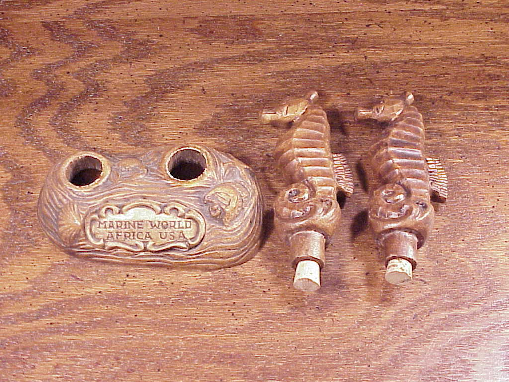 Treasure Craft Seahorses Marine World Africa USA Ceramic Salt and Pepper Shakers