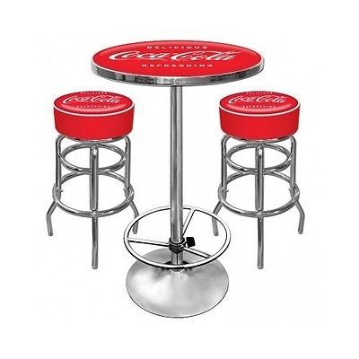 Coca Cola Red Pub Table Stools Furniture Coke Chairs