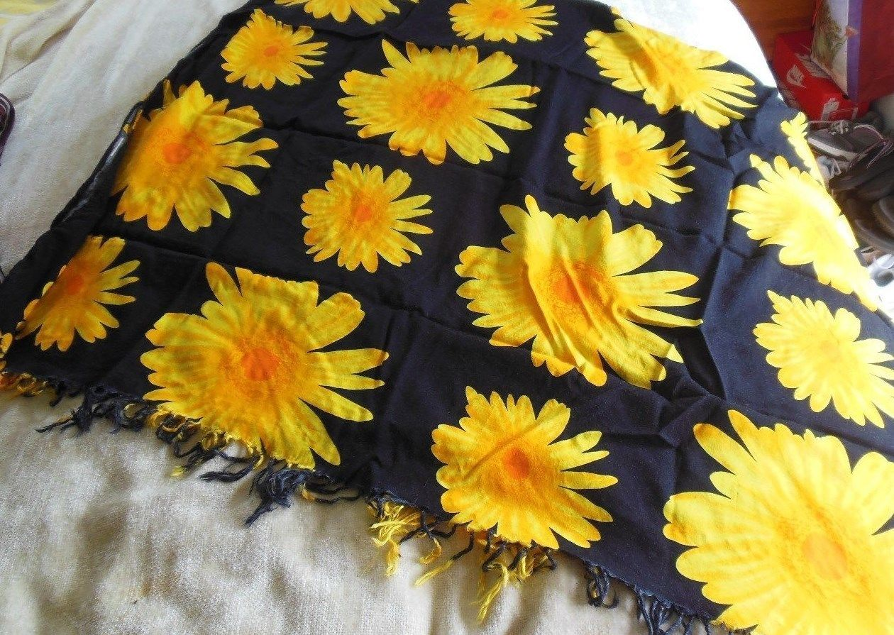 Primary image for Koko Knot Women's Swimsuit Wrap/Cover-Up Black w/Big Sunflowers