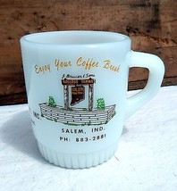 Vtg Anchor Hocking Fire King Coffee Cup Rosebud Farms Salem IN Indiana's... - $27.90