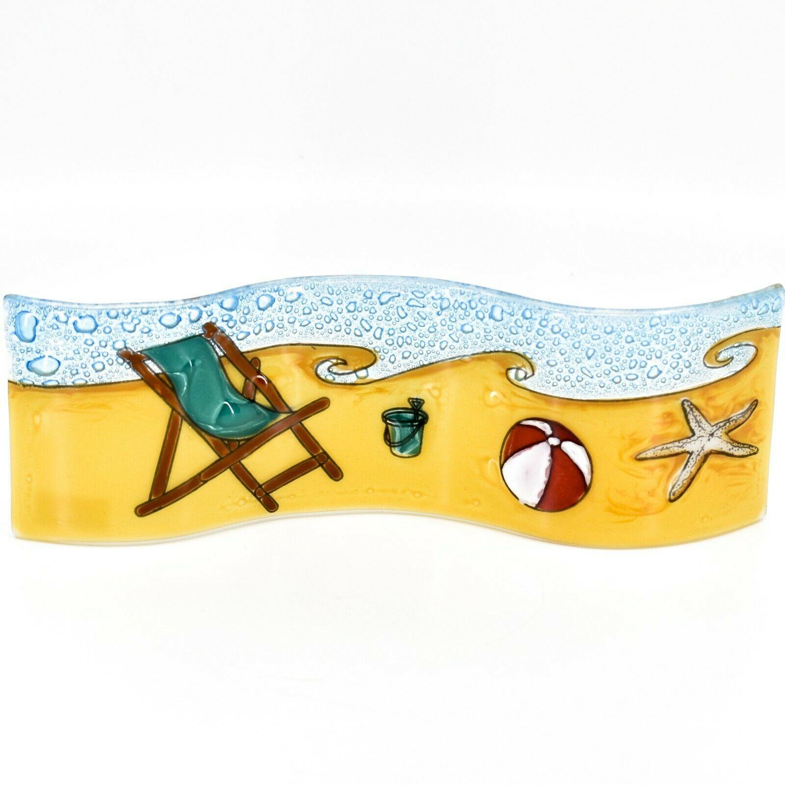Fused Art Glass Beach Summer Waves Wavy Sun Catcher Handmade in Ecuador