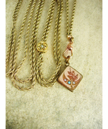 Antique Victorian Pearl Slide Pocketwatch chain and Turquoise locket LON... - $325.00