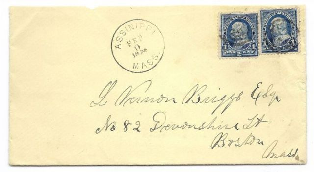 1896 Assinippi MA Discontinued/Defunct (DPO) Post Office Postal Cover