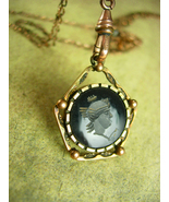 "Antique Victorian Pearl Slide Pocketwatch chain and Intaglio Fob LONG 48"" gold - €279,35 EUR"