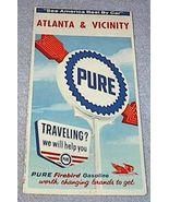 Pure Oil Co Firebird Gasoline Road Map Allanta Georgia 1964 - $9.95