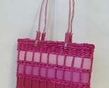 Pink Straw Purse Ribbon Trim Tote Handbag Double Handles Fabric Lined Beach Bag