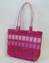 Pink Straw Purse Ribbon Trim Tote Handbag Double Handles Fabric Lined Be... - $28.00