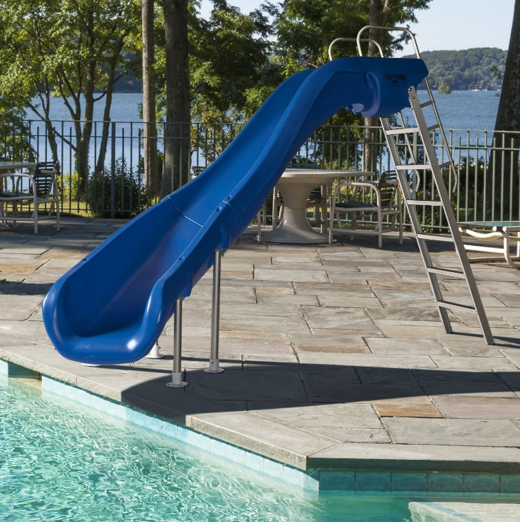 Swimming pool slides water slide inground right left curve for Swimming pool slides