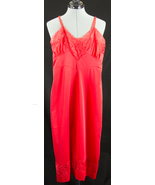 Vintage Colony Club Red Lace Nylon Slip Nightgown Negligee - $34.99