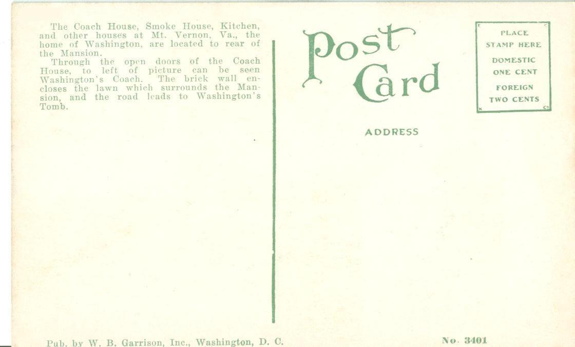 The Coach House, Smoke House, Mt. Vernon, VA, early 1900s unused Postcard