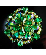 Vintage Brooch Huge Rhinestone Aurora borealis blue green cluster flower - $135.00