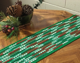 Red Green Abstract Table Runner - Handmade Croc... - $45.00