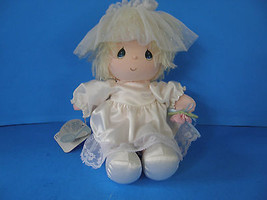 """VINTAGE 1986 10"""" PRECIOUS MOMENTS MUSICAL DOLL IN HER WHITE SATIN DRESS - $12.19"""