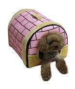 Delicate Cotton Detachable Arc House Shape Pet Dog House (Pink brick, Middle ... - $62.50