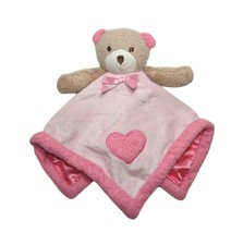 Blankets & Beyond Pink Brown Teddy Bear Heart Baby Girl Security Lovey S... - $18.39