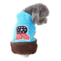 NACOCO Cute Coral Fleece Dog Coatfor winter with Leisure Pattern (Blue, M) - $21.99