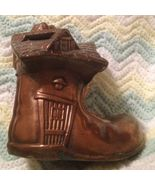 """VINTAGE CAST METAL BANK BOOT BRONZE COPPER  """"OLD WOMAN WHO LIVED IN A SHOE"""" - $19.99"""