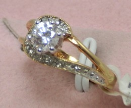 Sparkle 6mm CZ/10 small diamond similar 18kt GE woman engage cocktail ring sz 5 - $14.50