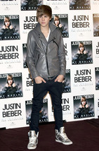 Custom Handmade CANADIAN POP SINGER JUSTIN BIEBER GREY LEATHER JACKET, F... - $149.99
