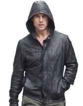 Handmade Custom Mi4 Tom Cruise Leather Jacket, Tom Cruise Movie Hooded Jacket - $149.99