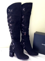 NEW Kenneth Cole New York Black Suede Leather Claire Embroidered Tall Boots 7 38 - $101.40