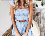 Bella Philosophy Casual ruffle plaid summer jumpsuit Off shoulder sexy rompers