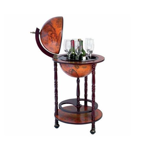 Mini Bar Globe Old World Map Wine Liquor Bottle Storage Stand Cabinet Portable