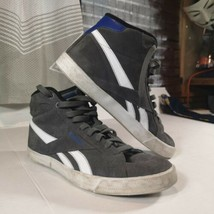 *REEBOK* Hightop Shoes Men sz10 CrossFit Weightlifting Gray w Blue Accents  - $36.33