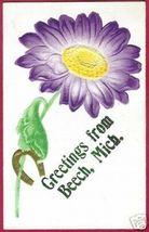 BEECH MICHIGAN Floral Horseshoe Greeting Detroit MI - $10.00