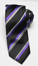 NEW Men's Alfani Cpatain Wardrobe Striped Neon Purple Tie W/ Clip One Size - $8.90
