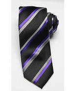 NEW Men's Alfani Cpatain Wardrobe Striped Neon Purple Tie W/ Clip One Size - $8.90