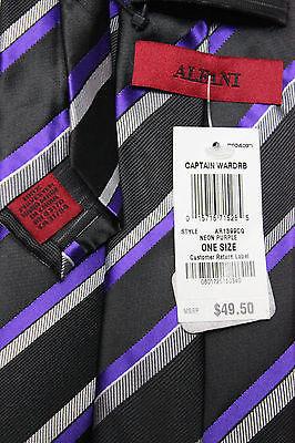 NEW Men's Alfani Cpatain Wardrobe Striped Neon Purple Tie W/ Clip One Size