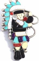 Vintage Zuni Larry Laate Lavonne Lalio? Sterling Silver Inlay Pin - $175.80