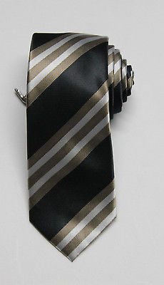 NEW Men's Alfani Neckwear Carlos Stripe Taupe/Black Tie W/ Clip One Size