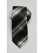 NEW Men's Alfani Neckwear Carlos Stripe Taupe/Black Tie W/ Clip One Size - $8.90