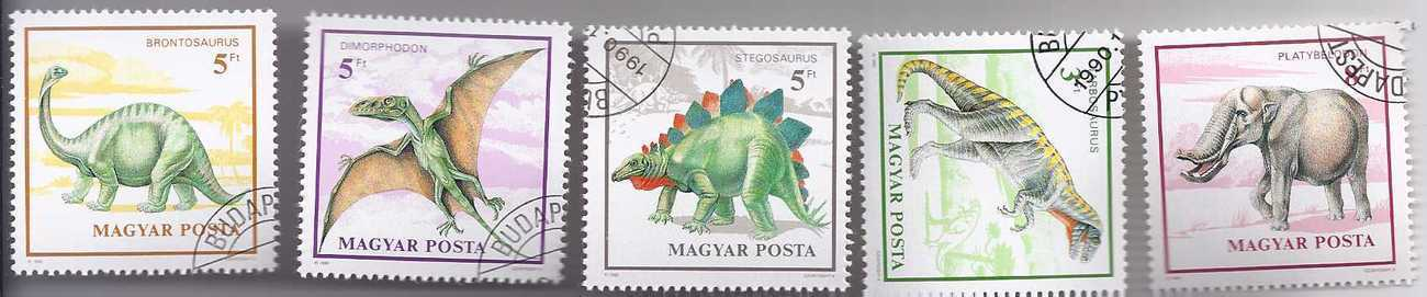 MAGYAR POSTA (HUNGARY)  1990  Stamp set: OF 5 PREHISTORIC ANIMALS