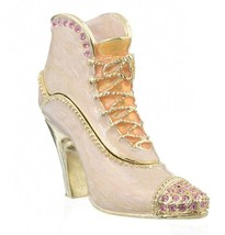 White shoe trinket box hand made by Keren Kopal with Austrian crystals F... - $14.40