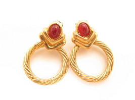Vintage ESPO Yellow Gold Plated Red Cabochons Celtic Cable Circle Earrin... - $13.37