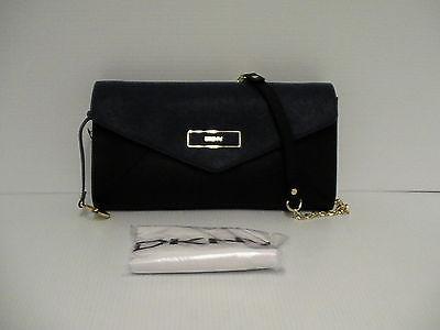 DKNY shoulder bag handbag envelope sffiano leather  black & navy blue