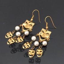 Vintage Jewelry Gold-Tone Faux Pearl Smile Dangle Earrings  - $12.99