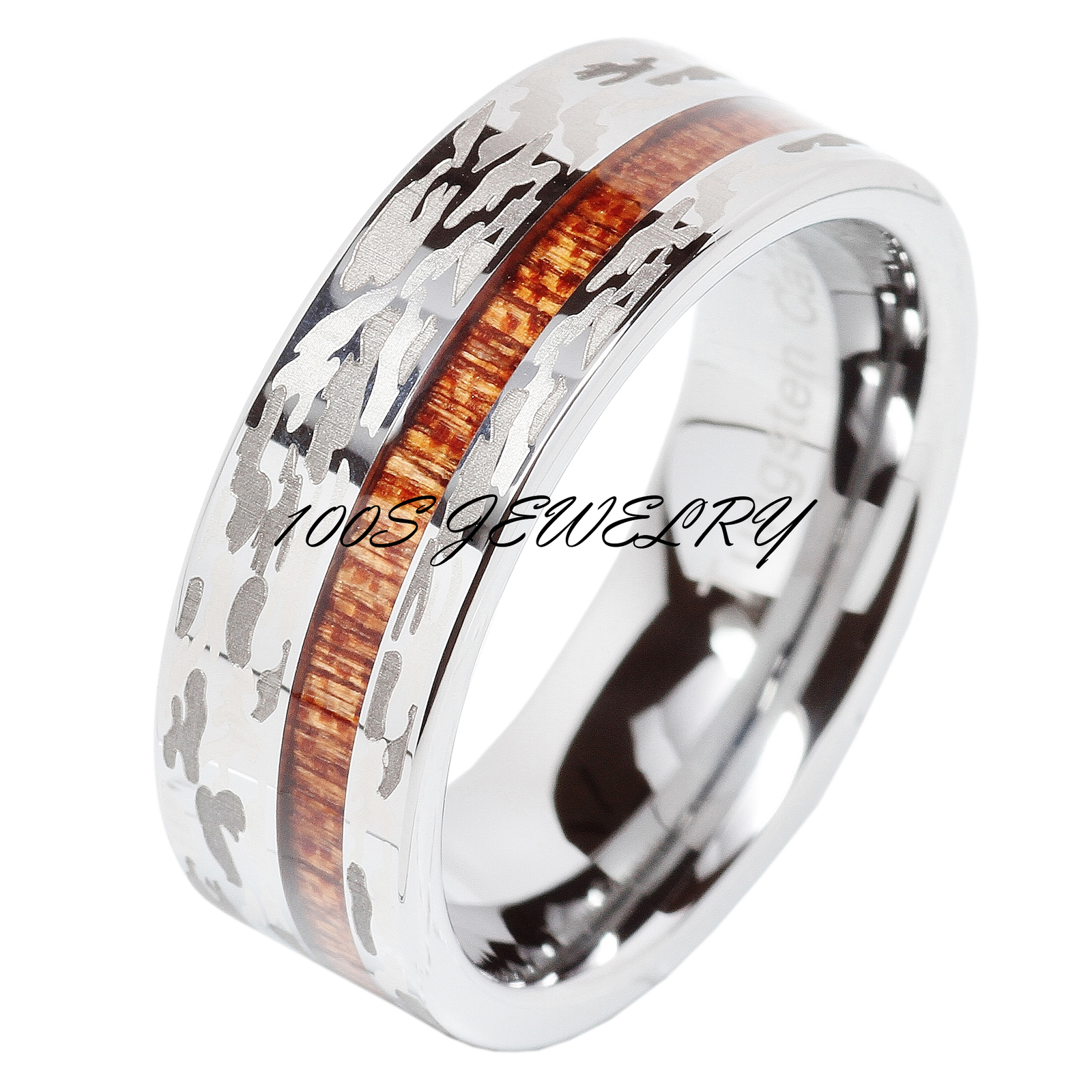 tungsten ring camo army hunting wood inlay silver mens