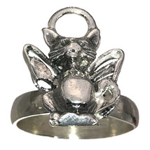 New Guardian Angel Halo cat kitten Kitty wings ring Sterling Silver 925 ... - $53.00