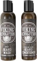 Viking Revolution Beard Wash & Beard Conditioner Set w/Argan & Jojoba Oils – Sof