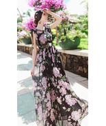 Cherry Blossom Black And Pink Chiffon Long Dress. Summer Autumn Floral D... - $87.90+