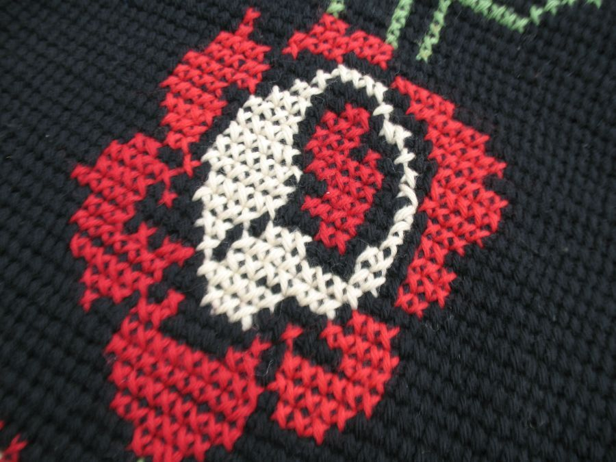 Vintage hand Crochet Afghan Shabby Roses Cross Stitch Black Red wool Cottage